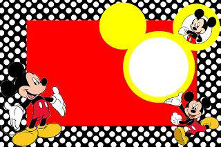 Inspired in Mickey Mouse: Free Printable Party Invitations in Red and Black.