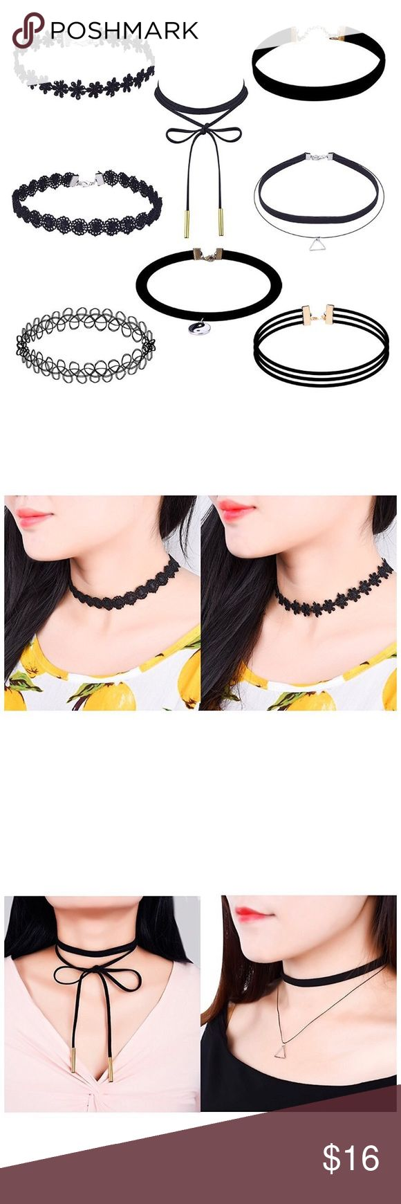 8 Pieces Choker Necklace Set, Black Cute, simple and elegant.  Each necklace is carefully wrapped.   Choker length: approx. 30 cm/ 11.8 inch  Extender chain length: 5 cm/ 2 inch  Total length is about 35 cm/ 13.8 inch   Package includes:  8 Necklaces Jewelry Necklaces