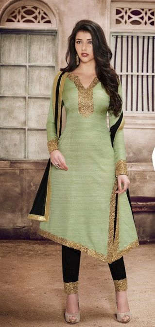 Price @3770.00 INR Colour : Sea Green & Black Top : Khadi Silk Bottom : Santoon Dupatta : Chiffon Fabric With Laceborder Work : Zari Embroidery Work in Neck & Sleeves