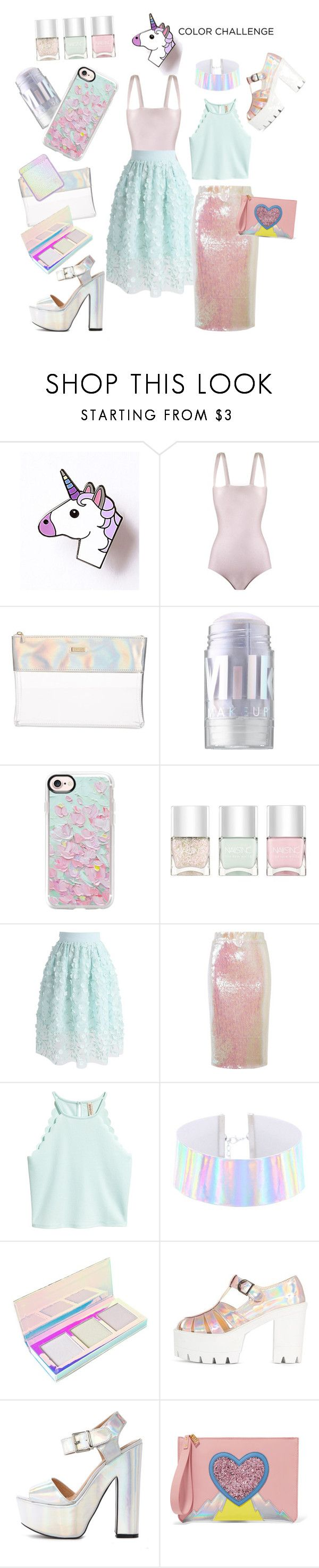 """""""Unicorn Color Palette!"""" by egchee ❤ liked on Polyvore featuring ADRIANA DEGREAS, ban.do, MILK MAKEUP, Casetify, Nails Inc., Chicwish, Essentiel, Lime Crime and Sophie Hulme"""