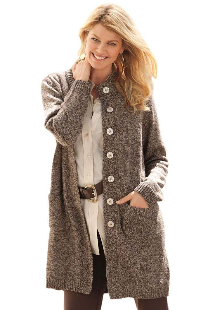 Sweater, marled cardigan jacket | Plus Size Cardigan | Woman Within