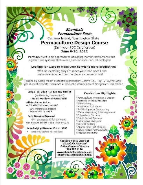 [ Washington ] Permaculture Design Course at Shambala Farm and Perennial Vegetable Nursery    6 - 20 Jun 2012