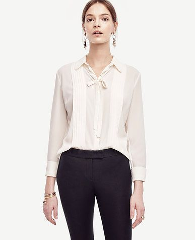 Tie Neck Pleated Blouse x Ann Taylor
