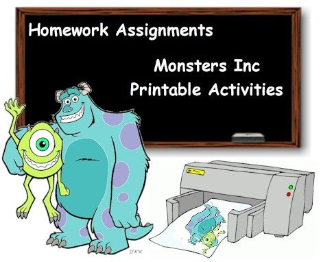 Monsters Inc Printables Word Games, Puzzles, Mazes, 3D Cutouts and More