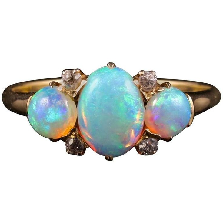Antique Victorian Opal Diamond Gold Ring, circa 1880 | From a unique collection of vintage three-stone rings at https://www.1stdibs.com/jewelry/rings/three-stone-rings/