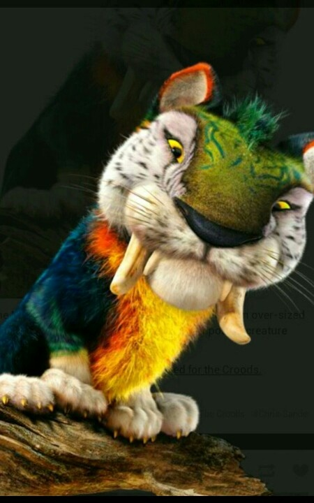 The colored tiger off of the croods   The croods   Pinterest
