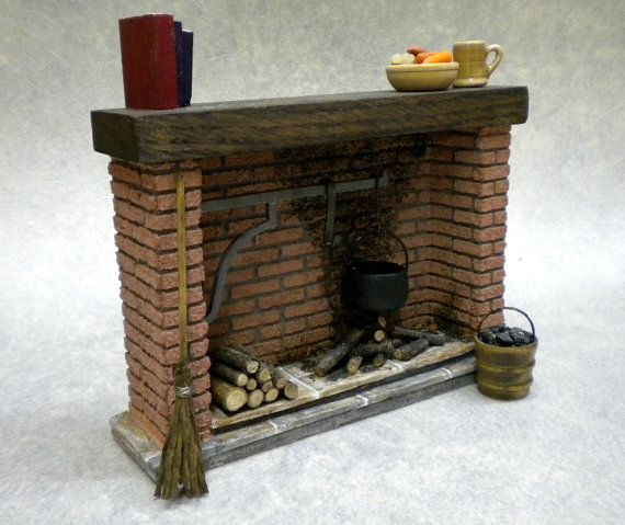 Dollhouse Red Brick Colonial Fireplace   -  one inch scale