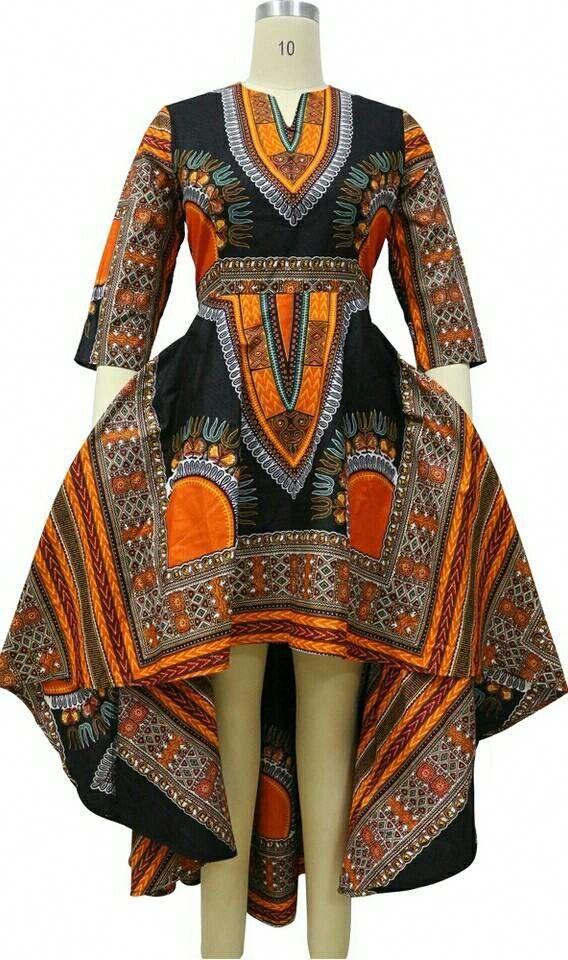 Dashki Fabric African Fashion Ankara Kitenge African: Dashiki Ankara Wax African Print High Low Dress