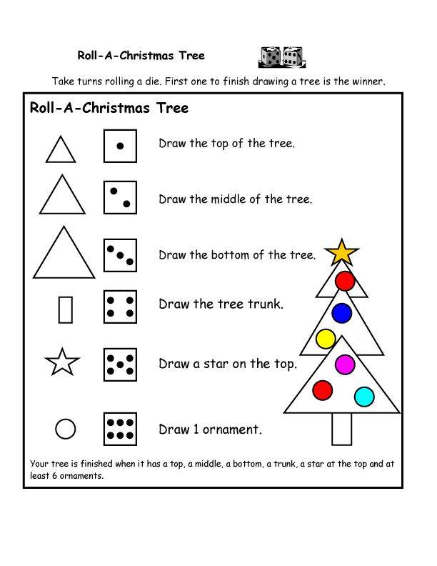 Students need a blank sheet of paper .They work in small groups and take turns rolling a die to make a Christmas tree, including the top, the middle, the bottom, the tree trunk, the star on the top and at least 6 ornaments. The first one to finish drawing his tree is the winner!