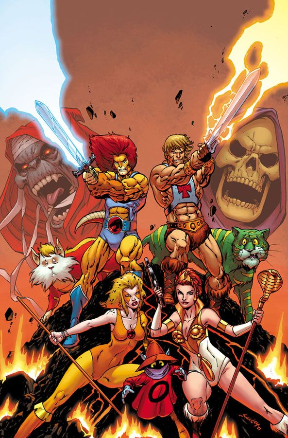 Thunder Cats AND MOTU -- Oh, that would be a fun crossover team-up! Just imagine Mumm-Ra and Skeletor getting together - or rather, colliding, getting on each other's nerves... and what would the T-cats, especially Tygra, think of Adam/He-man's pet Cringer?