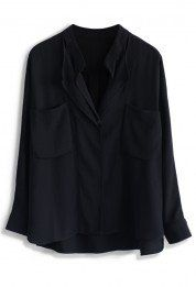Neutral Batwing Crepe Shirt in Black