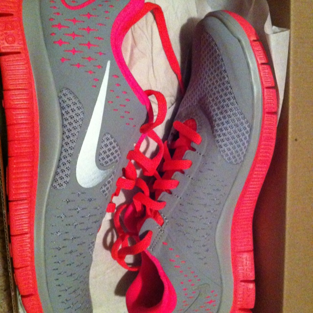 My new Nike gym shoes! Hot pink and grey.