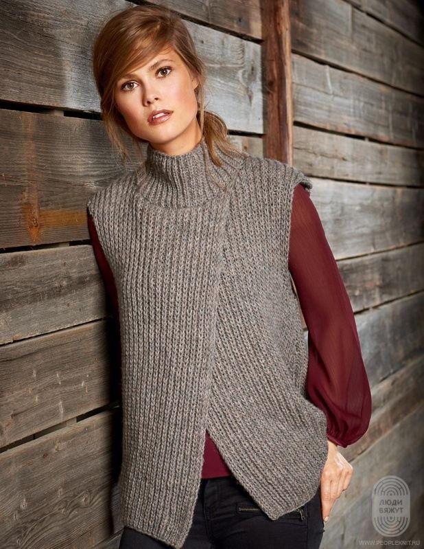 модные вязанные женские жилеты спицами 2018 года красивые стильные