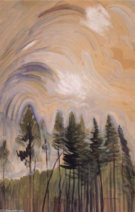Jeunes pins et le ciel de Emily Carr (1871-1945, Canada)
