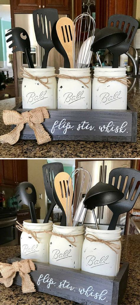 Check it out Mason Jar Utensil Holder – Farmhouse Kitchen Decor – Farmhouse Decor – Joanna Gaines – Rustic home decor – Rustic kitchen decor – Rustic decor – Original Flip Stir Whisk #ad The post ..