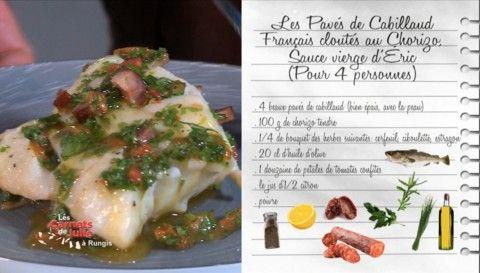 Pavés de cabillaud français cloutés au chorizo, sauce vierge d'Éric