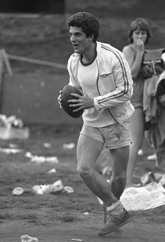 A college-aged JFK Jr playing football at Brown University, his alma mater in 1981.