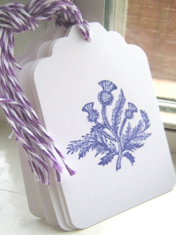 Purple Thistle Gift Tags Thistle Wedding Wish by CharonelDesigns, $4.95