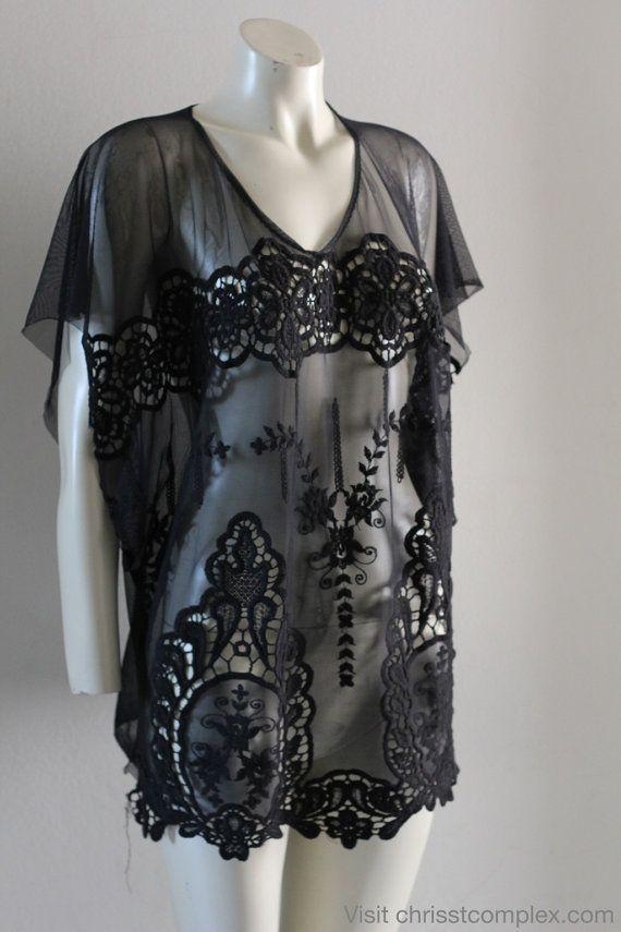 Kaftan Short Sleeve Gothic Goth Beach Resort Summer by chrisst, $89.00 I'd wear this over a bright tanktop