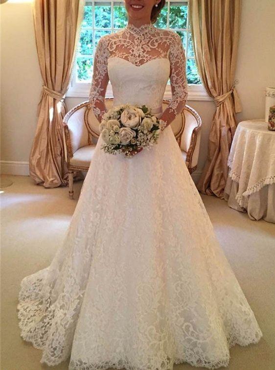 Open Back Long Sleeves Vintage Lace Wedding Dress