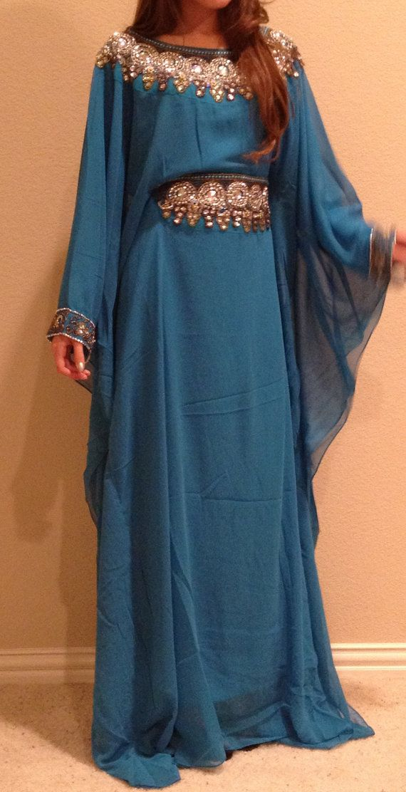 LF17 Chiffon Maxi Dress Beaded Caftan One by ForTheDesertRoses, $95.00
