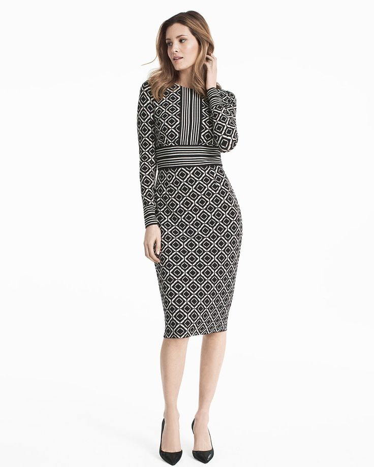Mixed Diamond Print Sheath Dress - WHBM