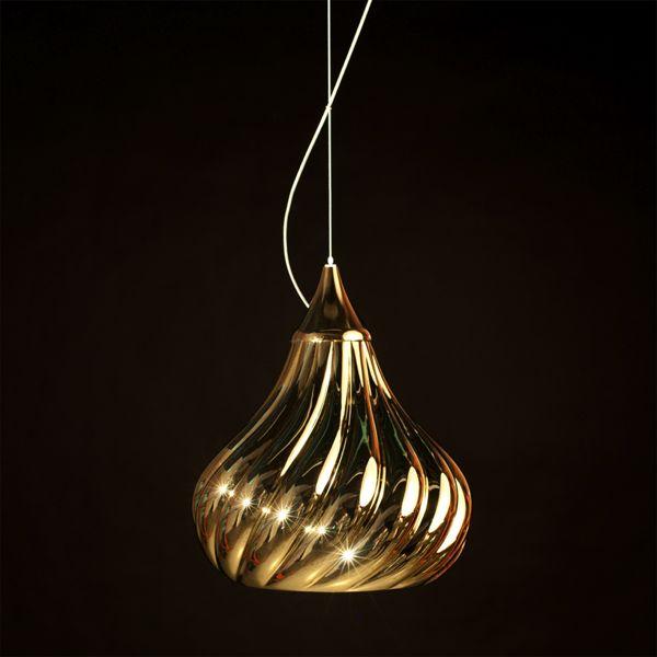 Ruskii twist, suspension lamp in ceramic #gold #ruskii #lamp #design