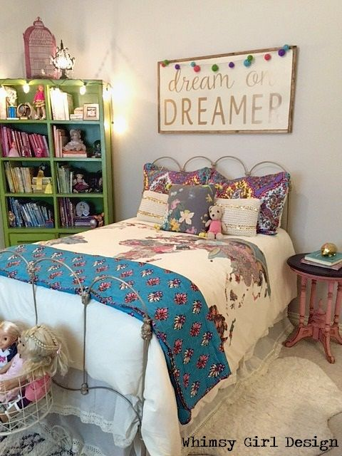Whimsy Girl Design: whimsical girl's bedroom reveal.  Antique bed, gold bed, quilt, urban outfitters, at home stores, dream plaque, painted sign, doll storage, bookshelf, bird cage, vintage bed, boho chic