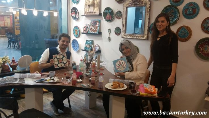 Traditional Ottoman Tile Painting Class for our guests from Doha.. They came for thier 1st. year anniversary to istanbul and made nice tiles..  Thanks Amal. February 2016 - Istanbul http://www.bazaarturkey.com/tours/turkish_tiles_workshop.html