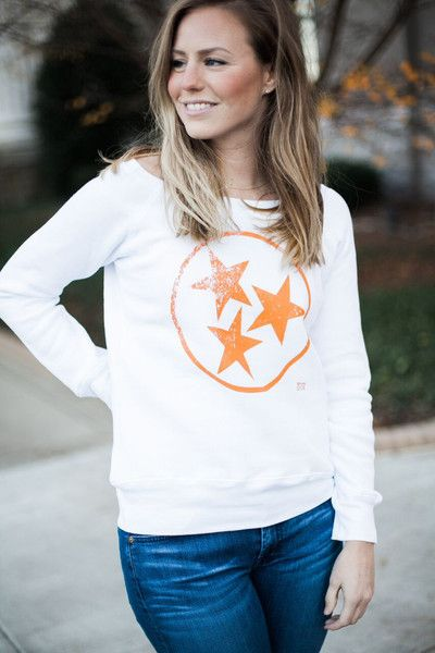 White Tristar Bella Sweatshirt University of Tennessee  Game day apparel for women Volunteers