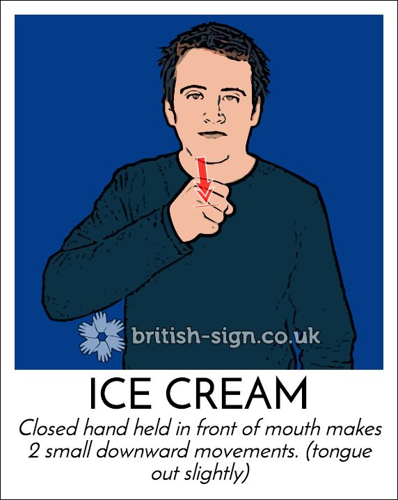 Today's #BritishSignLanguage sign is: ICE CREAM #StrawberryIceCreamDay