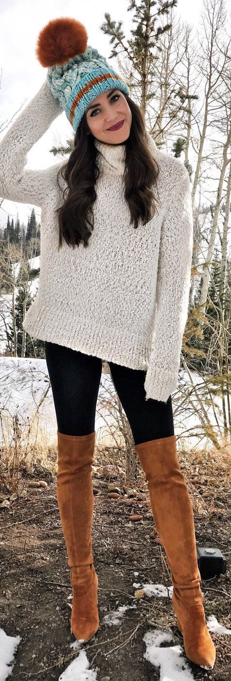 #winter #outfits knitted white sweater and brown leather knee-high boots