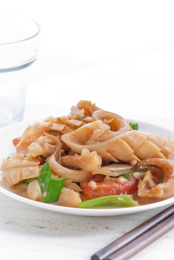 squid with leek and celery stir fry