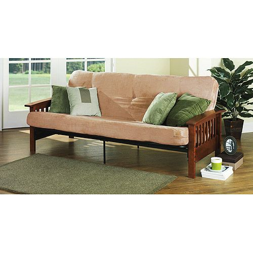 Mainstays Mission Wood Arm Futon Walnut 219