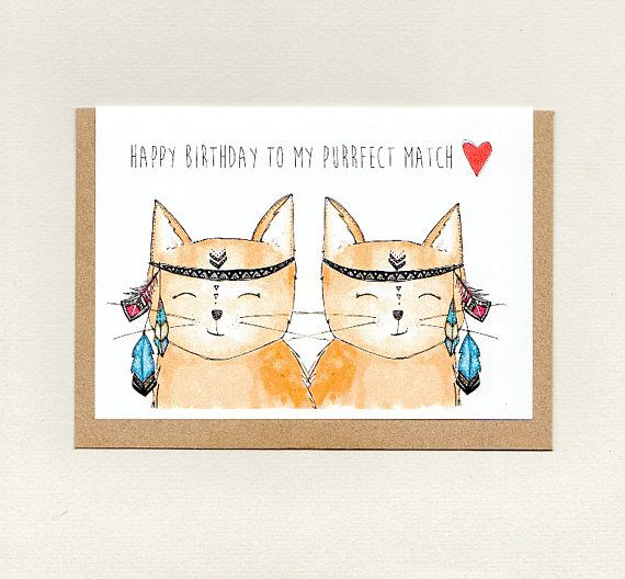 Happy Birthday To My Purrfect Match Greeting Card Spouse Etsy Cat Birthday Card Cat Cards Anniversary Cards