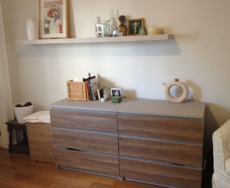 IKEA MALM 6-drawer dresser with PANYL in Limed Oak and painted accents between the drawers.