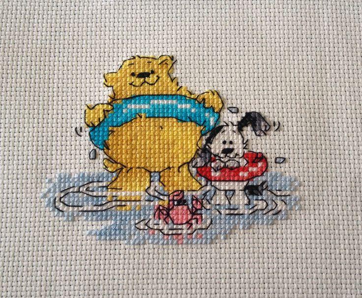 Finished cross stitch - Archie & Spot at the beach - @crossstitchermagazine chart