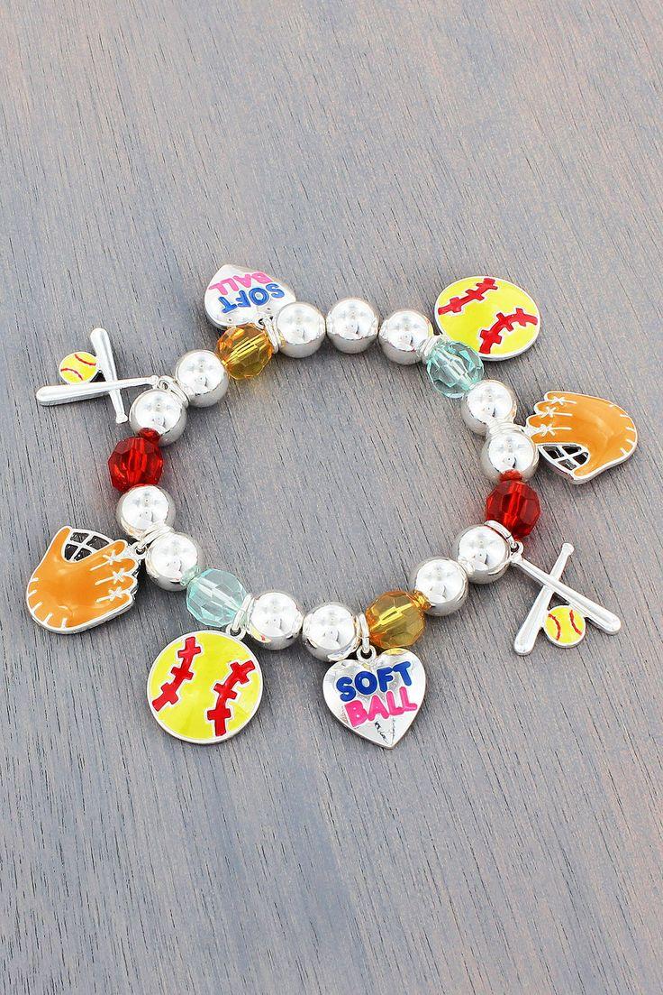 Softball Themed Charm Beaded Stretch Bracelet #ab8401smx