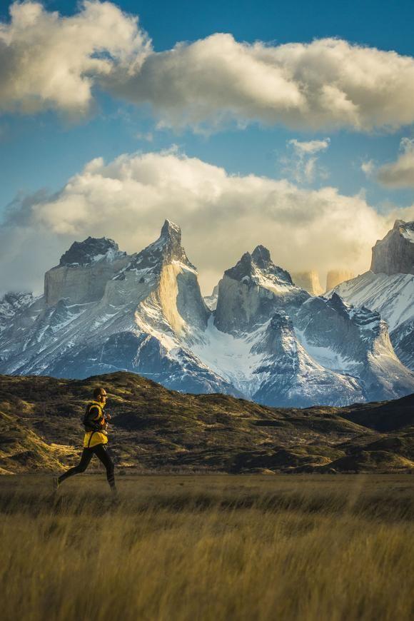 running in Torres del Paine