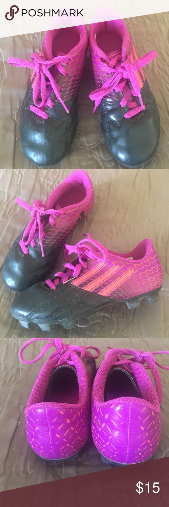 Adidas girls soccer cleats Pink and black. Used but in great condition. Need a little wipe down but great! Why spend full price on something they'll use for so little time. These are super cute Adidas Shoes Sneakers