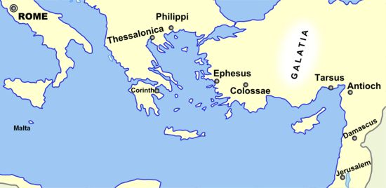 Paul the Apostle - Wikipedia, the free encyclopedia The Geography relevant to Paul's life, stretching from Jerusalem to Rome