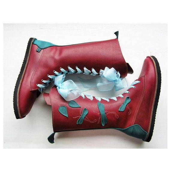 Haut, conte de fées inspiré Womens bottes de cuir à la main fait par le cordonnier de fée. La hauteur de la perfection de la fée ! Avec la belle «