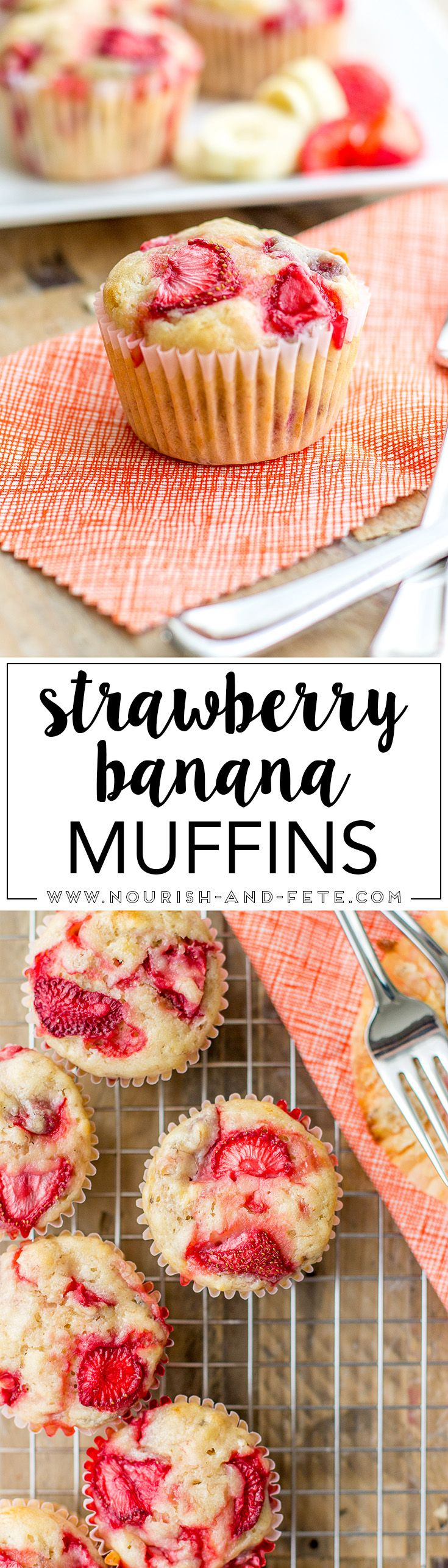 Luscious strawberry banana muffins, mixed quickly by hand in one bowl. http://www.nourish-and-fete.com via @nourishandfete