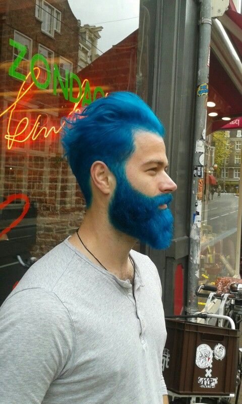 Dyed blue beard