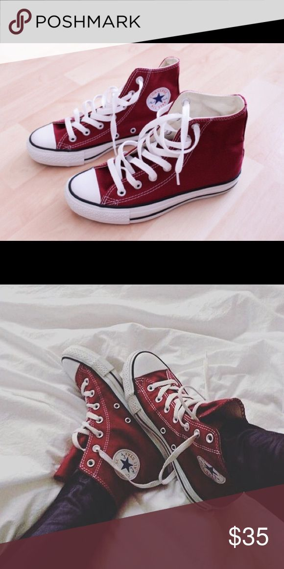 Maroon high top converse High top Maroon converse. Worn. Beautiful color and really cute for winter and spring. I'll upload more photos tonight! Make me an offer🛍 (they are a women's 8.5) Converse Shoes Sneakers