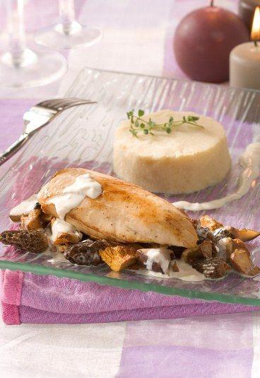 Pintade champagne et champignon : recette de pintade, pintade pour Noël - Menu de Noel chic: recettes de noel pour menu noel chic, menus noel