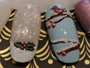 Nail Art; Noël; 2015; Saint Sylvestre; French Manucure; Houx; Flocons; Branches; Oiseau; Neige; Gilet; Fourrure; Arbres; Forêt; Nuit étoilé; Ville; Bonhomme de neige; Feu D'artifice; Etoile; Guirlandes; Chapeau; Champagne; 2016; Cotillons; Sapin; Cadeaux