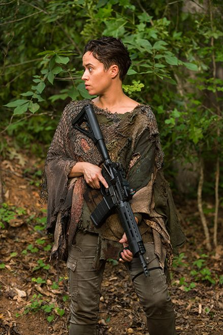 The Walking Dead S7E06 'Swear' - Beatrice (Briana Venskus) doesn't Trust Tara and thinks she's a threat to the community Oceanside.  - Photo