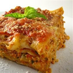 Tofu Lasagna --  If you haven't tried cooking with tofu, it goes really well with spicy dishes where it picks up the flavors of the other ingredients.  Delicious way to have some meatless meals, which is recommended for healthy eating.