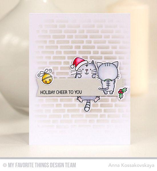 Handmade card from Anna Kossakovskaya featuring Winter Wonderland stamp set, Birdie Brown Cool Cat, I Knead You, and Santa's Elves stamp sets and Die-namics, Blueprints 27 Die-namics, and English Brick Wall stencil #mftstamps